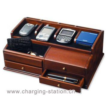 Desktop Charging Valet Wood Men Jewelry Charger Station Caddy