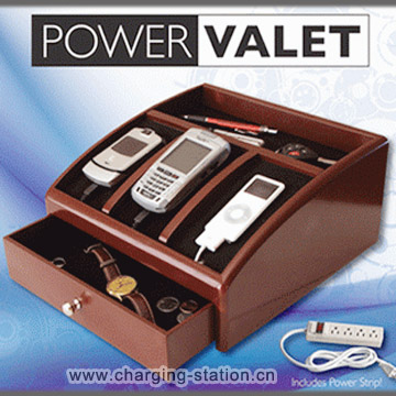 Recharge Valet Wood Charging Station Charger Desktop Recharging Caddy Cell Phone